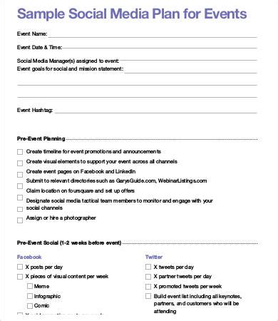 template for social media plan social media plan template 8 free word pdf documents