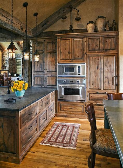 40 Rustic Kitchen Designs To Bring Country Life Rustic Rustic Kitchen Cabinet Ideas