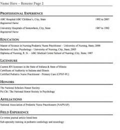pediatric resume sle free resume template
