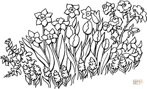 flowers in the garden coloring page free printable