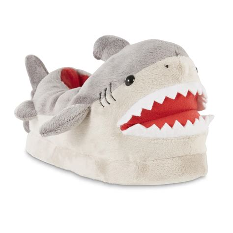 boys shark slippers roebuck co boys gray shark slipper fitness sports