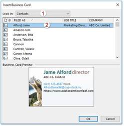 how to add business card to emails in outlook