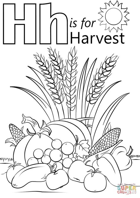 printable harvest letters letter h is for harvest coloring page free printable