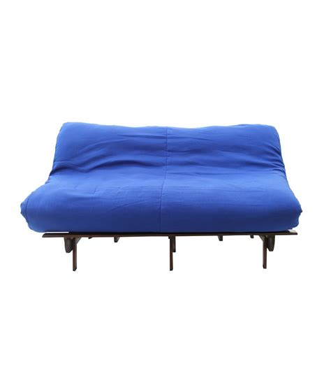 futon blue double seater futon sofa cum bed blue mattress buy