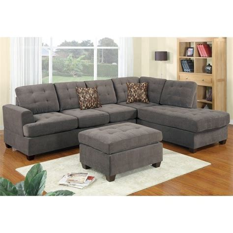 poundex bobkona prissy waffle suede sectional sofa in charcoal f7137