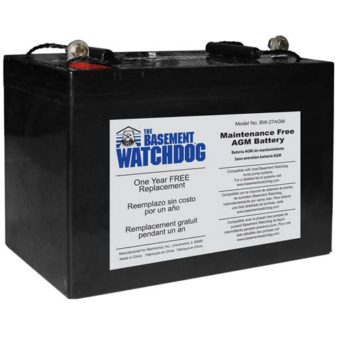basement watchdog maintenance free agm standby battery