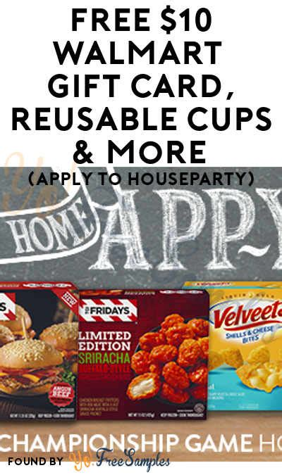 Apply For Free Gift Cards - free 10 walmart gift card reusable cups more apply to houseparty yo free sles