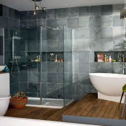 House And Home Bathroom Modern Bathroom With Oak Flooring And Grey Tiles