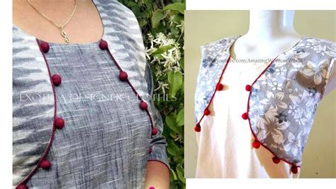 diy easy making  jacket style pattern kurti kameez