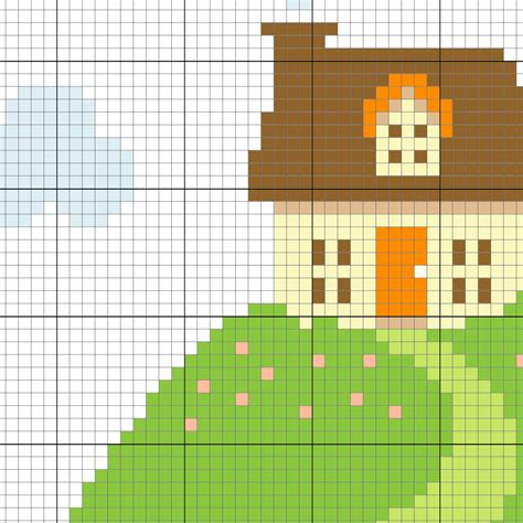 House Pattern Cross Stitch | house on a hill cross stitch pattern daily cross stitch
