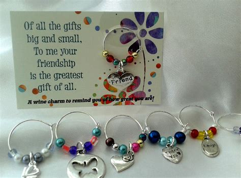 Handmade Friendship Gifts - friendship wine charm gift birthday gift handmade