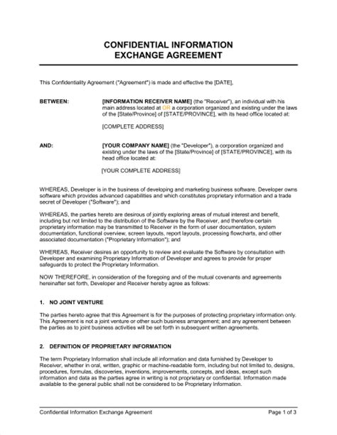 proprietary agreement template proprietary agreement template confidential information