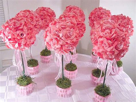 topiary table centerpieces 10 ten pink topiaries silk flower table