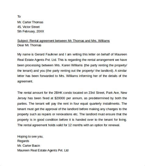 sample rental agreement letter template   documents  word