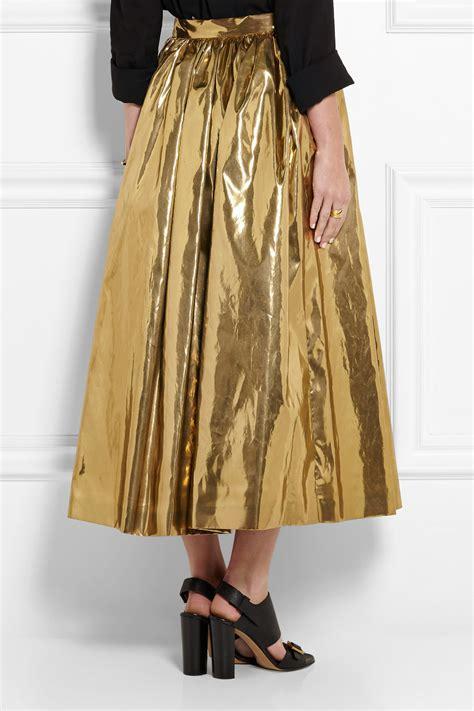 msgm pleated lam 233 midi skirt in metallic lyst