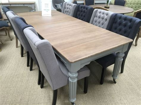 Black Dining Room Table Diy This Venice Dining Table Oak Painted Grey Legs 8 Black Grey Fabric Chairs Set In