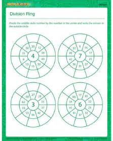 division ring printable division worksheet for kids
