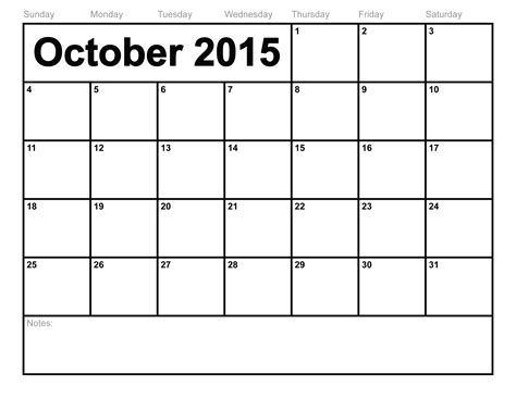 Calendar October 2015 October 2015 Calendar Printable Template 8 Templates