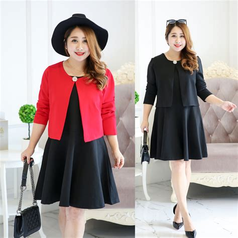 Feminine Dress With Jacket Set 2in1 Dress Jacket sweet feminine plus size dress with crop jacket set