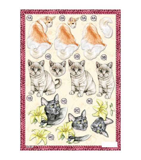 Die Cut Decoupage Sheets - craft uk 3 d die cut decoupage sheet mixed cats jo