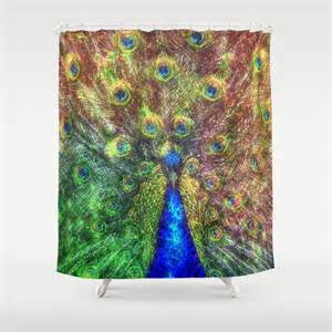 peacock shower curtain by ancello society6