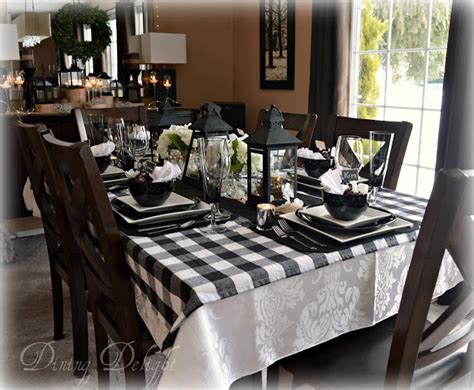 black and white buffalo check table runner dining delight black lanterns buffalo check tablescape