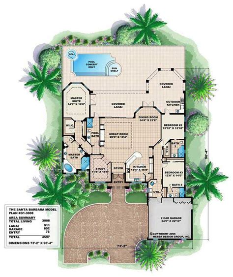 santa barbara style home plans luxury home plan 4 bedrms 4 baths 3008 sq ft 175 1008
