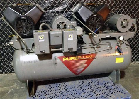 johnson controls pureflow 6 hp 120 gallon 4 cylinder air compressor big dual ebay