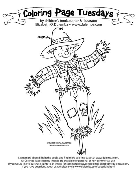 dulemba coloring page tuesday scarecrow