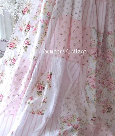 shabby aqua blue pink cottage roses chic shower curtain drape panel