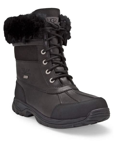 ugg butte boots ugg mens butte sheepskin leather boots in black for lyst