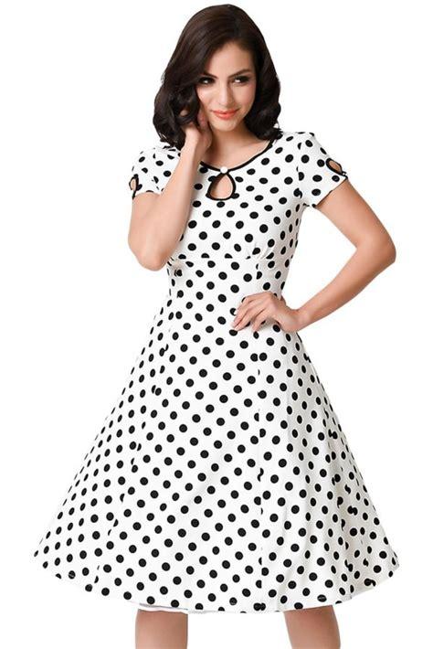 white black dotted gril short sleeve  swing dress