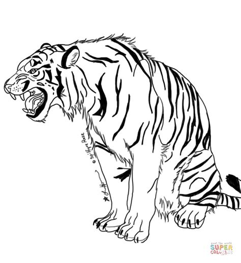 Snarling Tiger Coloring Page Free Printable Coloring Pages