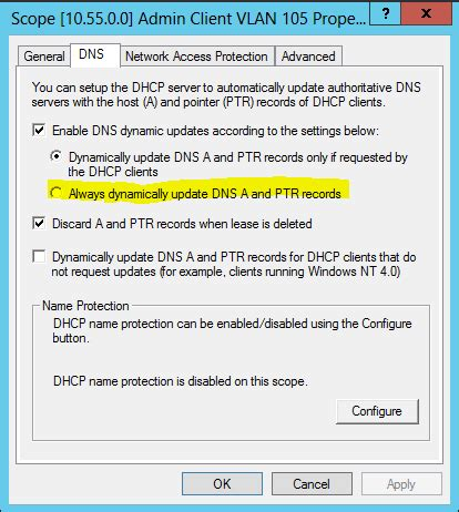 Ptr Lookup Powershell Script To Enable Scope Quot Always Dynamically Update Dns A And Ptr Records Quot