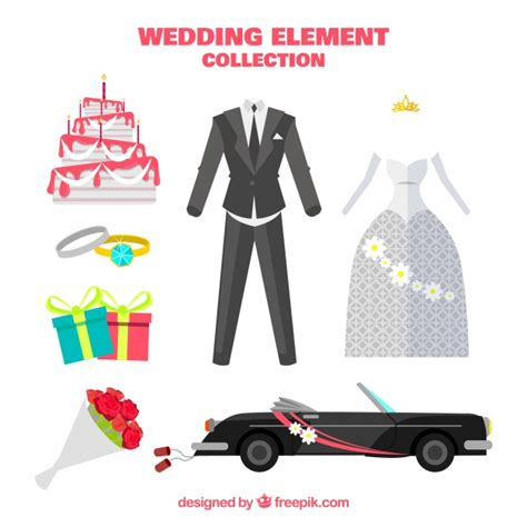Wedding Car Vector Free by Wedding Car With Other Elements In Flat Design Vector