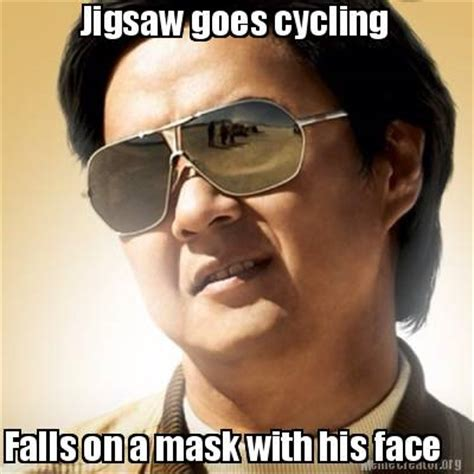 Face Mask Meme - meme creator jigsaw goes cycling falls on a mask with