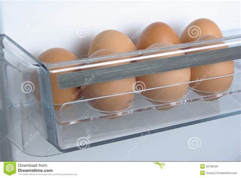 chicken eggs in the fridge royalty free stock images