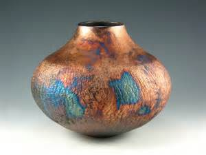raku pottery vase blue and copper penny by bethgoobic on etsy