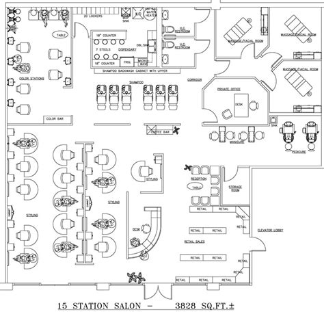 hair salon layout cad beauty salon floor plan design layout 3828 square foot