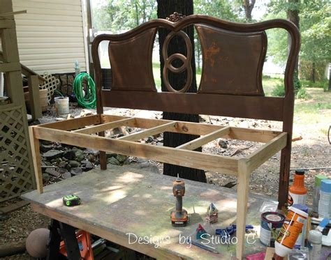 make a work bench how to build a bench using an old headboard