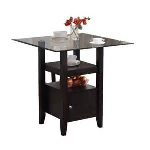 Counter Height Glass Top Dining Table Pilaster Designs Cappuccino Finish Glass Top Counter Height Dining Table With Storage