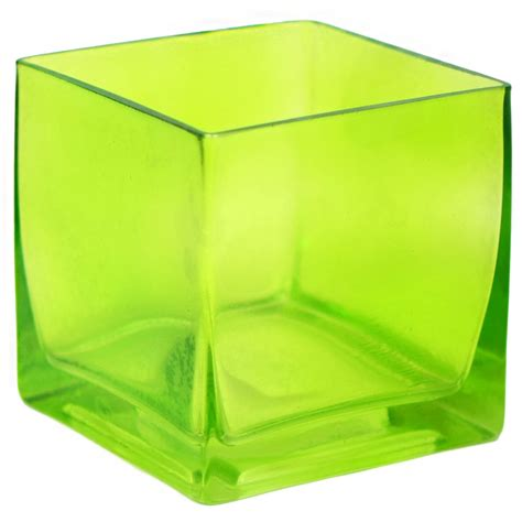 Glass Cube Vase by Glass Cube Vase 4 Quot Green Gh501009 Mardigrasoutlet