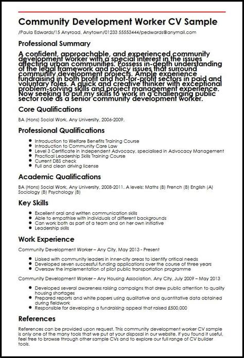 social workers cv exle community development worker cv sle myperfectcv