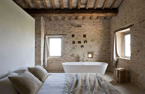 Rustic bedroom and bathroom in the style of minimal stone wall ideas and inspirations to your