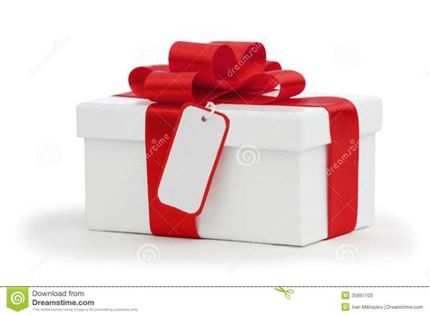 Bow Gift Box gift box with bow and tag stock photo image of
