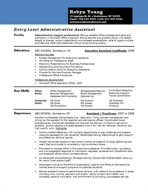entry level admin resume sle monster com