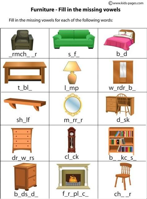 home design vocabulary house worksheets furniture fill in worksheet home index