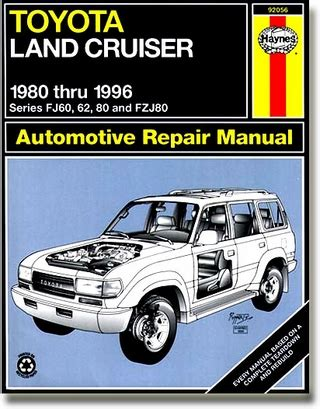 haynes toyota land cruiser 1980 1996 auto repair manual haynes repair manual for the quot shade tree quot mechanic