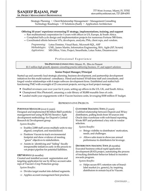 project management resume template resume sles exles brightside resumes