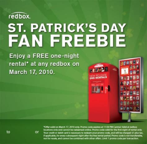 s day rental redbox free rental code on st patrick s day